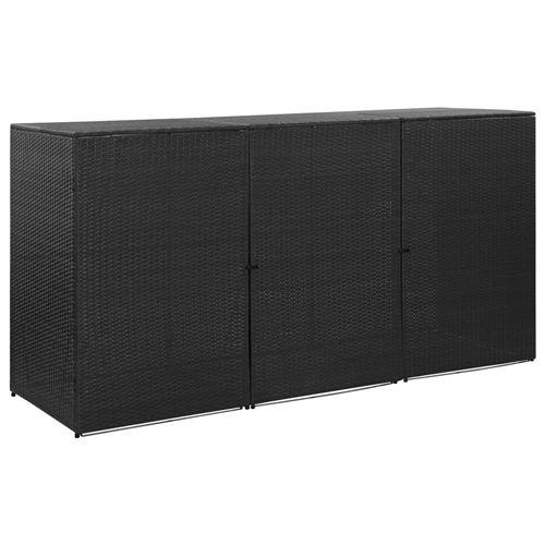 vidaXL Abri pour poubelle triple Noir 229x78x120 cm Résine tressée