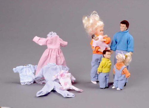 Miniature 5-Pc. Family Doll with Extra Clothes Sold at Miniatures
