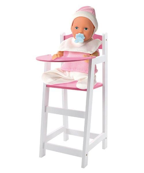 Chaise haute en bois de poupée 21,5 x 26,5 x 53 cm (poupée non incluse)