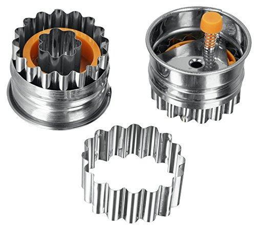 Metaltex en acier inoxydable en forme de tarte-emporte-pièces à pâtisserie poussoir argenté