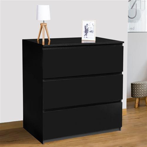 Commode 3 tiroirs bois noir TOMI