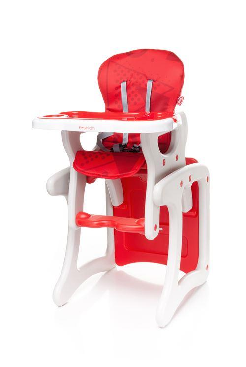 Confortable chaise haute / table enfant FASHI 2en1 - max 15kg - rouge
