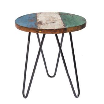 Table de salon de jardin ronde 40cm en teck et fer CIUDAD