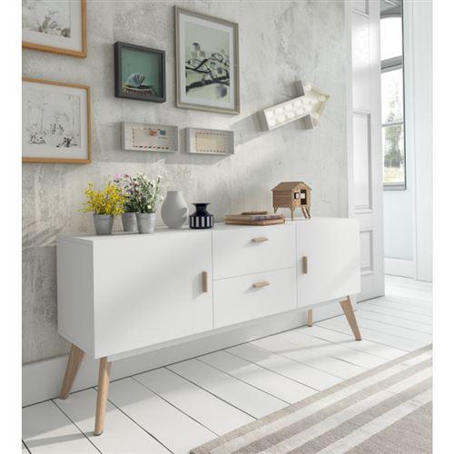 Buffet 2 tiroirs et 2 portes en bois laqué blanc semi-mat et chêne ZUMA