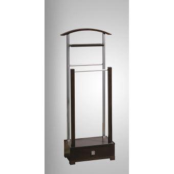 Valet de nuit double modern en tube chromé et bois massif, Dim: 48 x 25 x  120 cm (Poids : 11 Kg) -PEGANE-