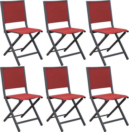 Proloisirs - Chaises pliantes en aluminium Ida (Lot de 6) Gris, Rouge