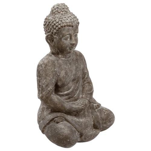 Statue en Ciment Bouddha Assis 46cm Gris
