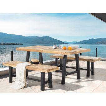 Beliani - Table et 2 bancs de jardin en bois - noir - Scania