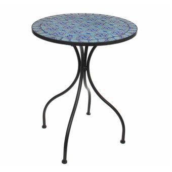 L\'Héritier Du Temps - Salon de jardin avec sublime mosaïque antique table  de bistrot et 2 chaises pliantes en acier noir et motifs en céramique bleue