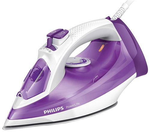 Philips GC2991/30 – Fer à repasser à vapeur 2300 W, débit vapeur 145 g, semelle Steamglide antirayures et fonction nettoyage facile du calcaire, violet