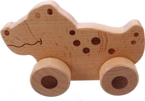 Jouéco crocodile en bois sur roues