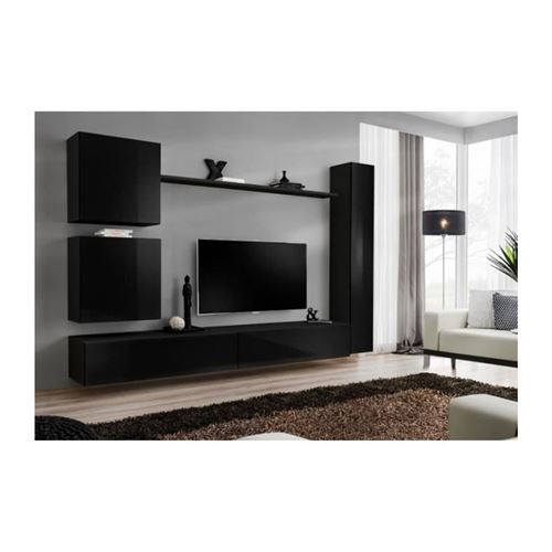 Ensemble meuble salon SWITCH VIII design, coloris noir brillant.