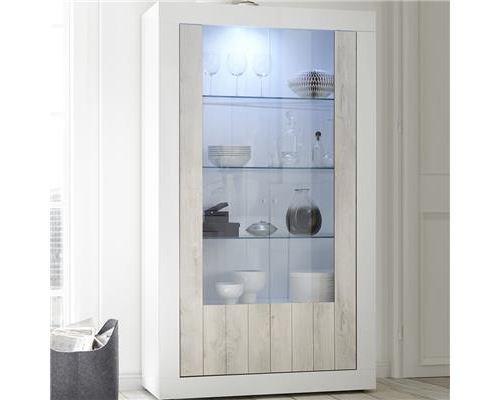 Buffet vaisselier blanc et couleur pin moderne SERENA 3-L 110 x P 42 x H 191 cm