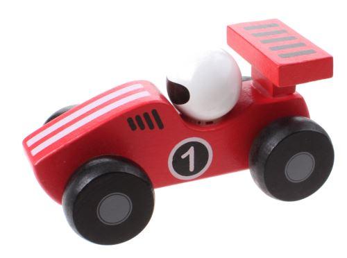 Jouéco voiture de course en bois 12 cm rouge