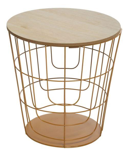 Table à café métallique coloris moutarde - L. 36,5 x l. 36,5 x H. 38 cm -PEGANE-