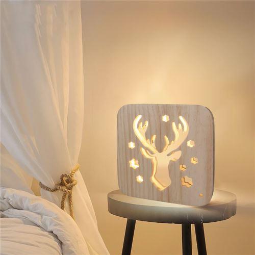 Creative Craft Décoration Lampe en bois Led Lumière Veilleuse Lampe de table wedazano450