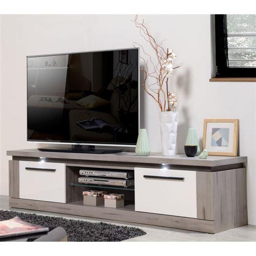 Conception innovante 977ed 61073 Meuble TV 2 portes 1 niche Bois gris/ Laque blanche - NOVA