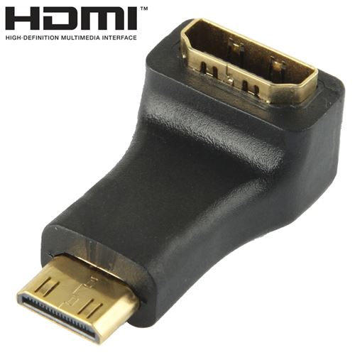 (#23) Gold Plated Mini HDMI Male to HDMI 19 Pin Female Adaptor with 90 Degree Angle(Black)