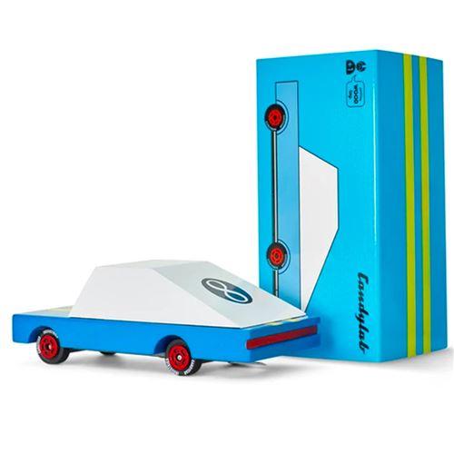 Petites voitures et mini modèles rétro classiques en bois Candylab Candycar Véhicules design pour enfants et adultes - Blue Racer - #8 CND F830