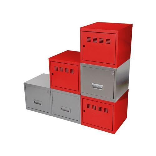 Pierre Henry - Cubes métal 3 portes 3 tiroirs Rouge/Alu