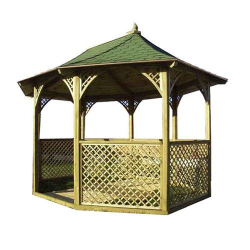 Pavillon octogonal en bois traité toit en bardeaux bitumés KIC35