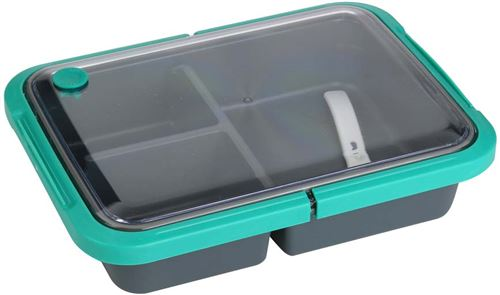 Take Away - Lunch box 3 compartiments fermeture sécurisée 1 litre vert