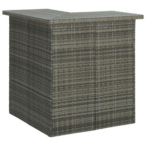 Table d'Angle de Bar 100X50X105 Cm Résine Tressée - Gris