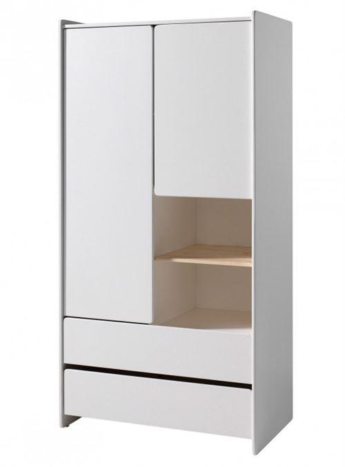 Vipack KIDDY Armoire 2 portes 2 tiroirs pin massif laqué blanc