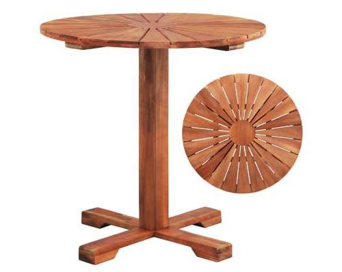 Table sur pied Bois d'acacia massif 70 x 70 cm Rond alsa