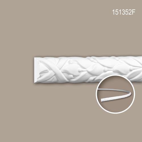 Cimaise 151352F Profhome Moulure décorative flexible style Rococo-Baroque blanc 2 m