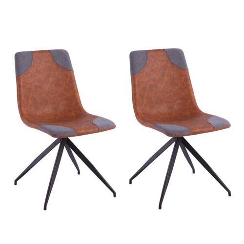 Lot de 2 chaises design COMETE cognac