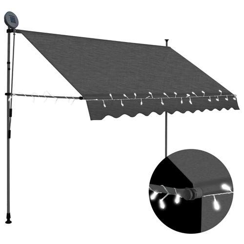 Auvent manuel rétractable avec LED 250 cm - Anthracite