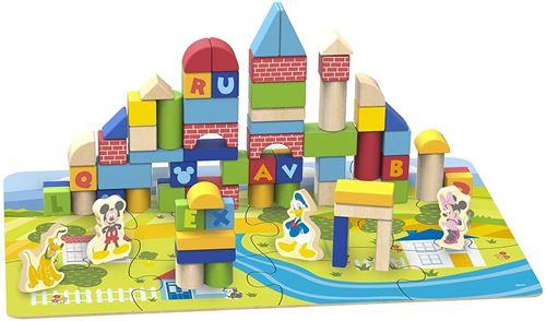 Disney jeu de cubes Mickey Mouse junior en bois 93 pièces