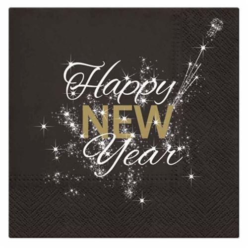 Paris Prix - Lot De 20 Serviettes En Papier happy New Year 33x33cm Noir