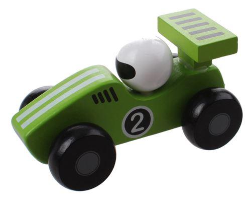 Jouéco voiture de course en bois 12 cm vert