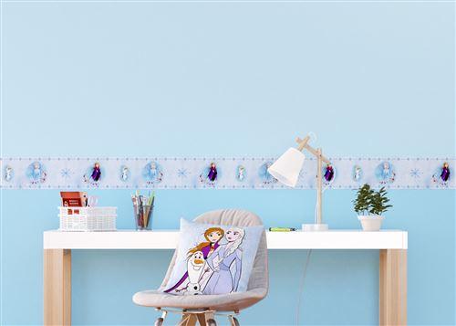 Frise auto-adhésive Disney - La Reine des Neiges 2 - modèle dessin fond bleu - 5 M x 14 CM