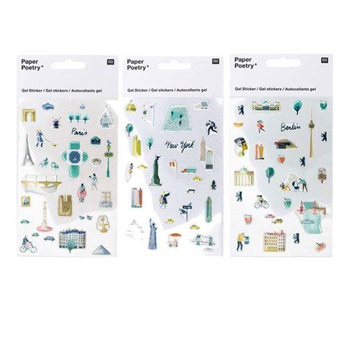 Stickers gel transparent - Paris, New-York, Berlin - Rico Design