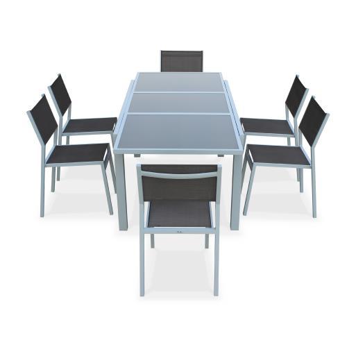 Salon de jardin 6 chaises table à rallonge extensible 150 ...