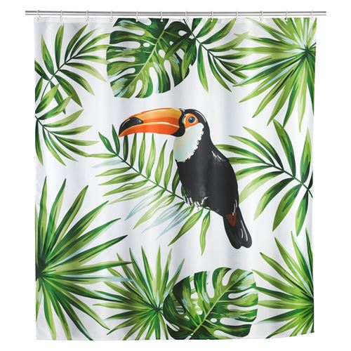 Rideau de douche tropical Toucan - Polyester - 180 x 200 cm - Blanc
