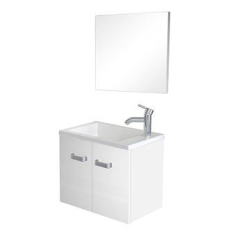 meuble lave mains suspendre miroir spicy blanc installations salles de bain achat prix fnac