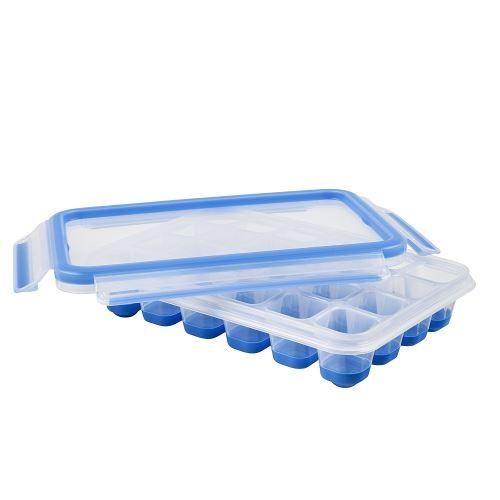 Emsa Boîte à Glaçons, Couvercle, Rectangulaire, 24 Glaçons, Transparent/Bleu, Clip&Close, 517389