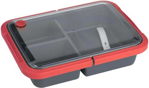 Take Away - Lunch box 3 compartiments fermeture sécurisée 1 litre rouge