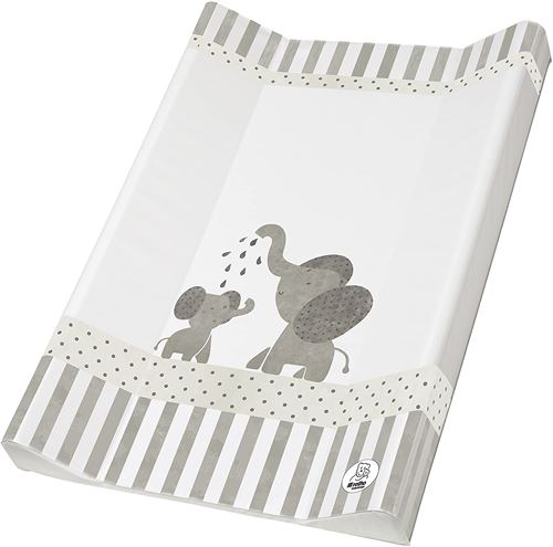 Rotho Babydesign Matelas à Langer à 2 Rebords, Dès la Naissance, Modern Elephants, Bella Bambina, White/Grey (Blanc/Gris), 50 x 70 cm, 200620001CG