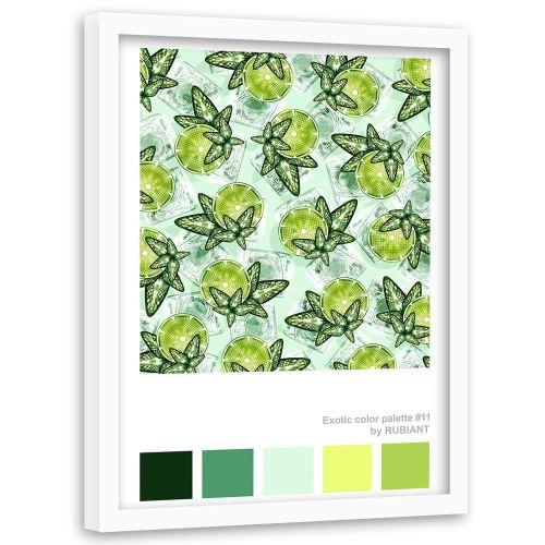 Feeby Tableau déco Image encadrée cadre blanc mural, Citron vert et menthe 50x70 cm