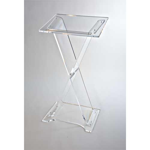 Pupitre léger plexiglas transparent 60/45 hauteur 106 et 117 cm
