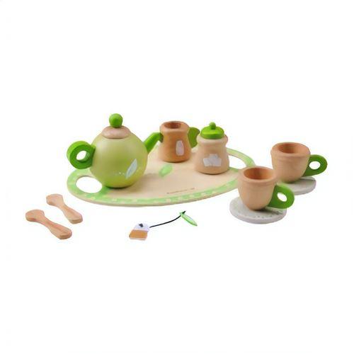 Everearth Jouets de cuisine en bois thé jeu de rôle blanc/vert 11-pièces