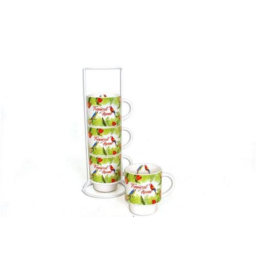 Set de 4 mugs Tropical sur colonne - 200 ml - Porcelaine