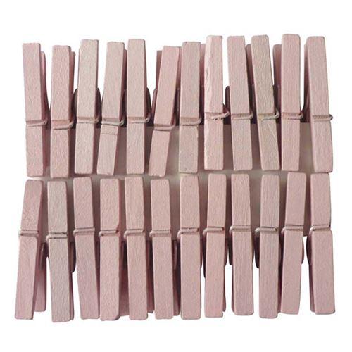 24 pinces à linge rose