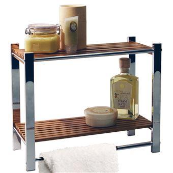 Watsons - BAMBOO - étagère murale salle be bain avec porte-serviette argent  / naturelle