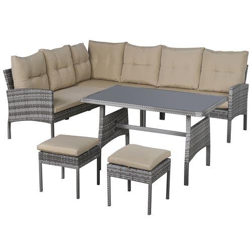 Salon de jardin 6 pers. grand confort canapé d'angle + 2 poufs + table à manger coussins assise & dossier fournis résine tressée grise